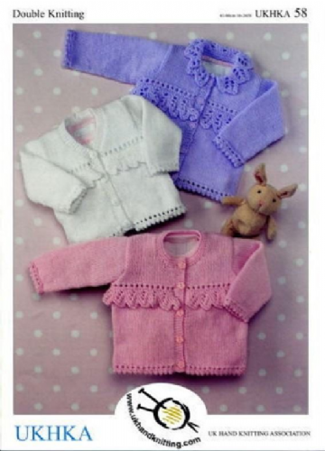 "Baby Girl Cardigans Knitting Pattern (16""-26"") UKHKA 58, baby pattern, 3 months to 6 years"